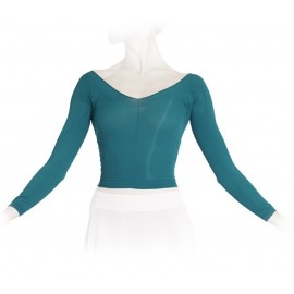Top collant court REPETTO  manches longues bleu paon