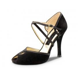 chaussure danse sportive femme WERNER KERN chèvre velours noir
