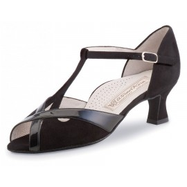 Chaussures de danse de salon WERNER KERN NADJA FEMME daim et vernis noir