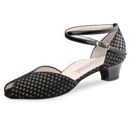 Chaussures de danse de salon WERNER KERN LOLA FEMME daim damier noir