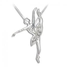 pendentif danseuse MIKELART DEVELOPPE INCRUSTE CRISTAL BLANC