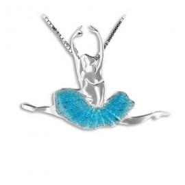 pendentif danseuse MIKELART GRAND JETE EMAIL TURQUOISE
