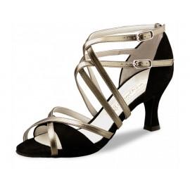 Chaussures de danse de salon WERNER KERN EVA FEMME  daim noir cuir vieil or