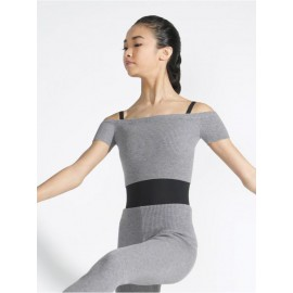 top CAPEZIO RIBBED KNIT CROPPED SWEATER