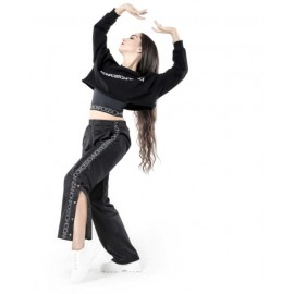 sweat crop top NON POSSO, HO DANZA F09 noir