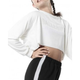 sweat crop top NON POSSO, HO DANZA F10 blanc