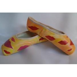 """chaussons de danse pointes décorés main SÈV """"LIPS"""" sur Merlet Adagio"""