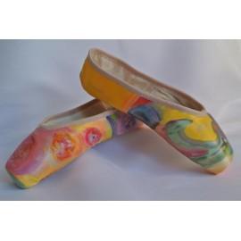 """chaussons de danse pointes décorés main SÈV """"COLORS"""" sur Merlet Prélude"""