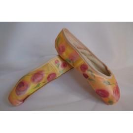 """chaussons de danse pointes décorés main SÈV """"CHERRY"""" sur Merlet Adagio"""