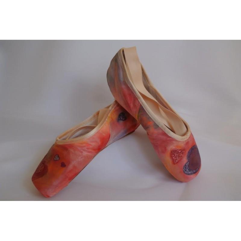 """chaussons de danse pointes décorés main SÈV """"HEART LOVER"""" sur Capezio Glisse"""