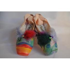 """chaussons de danse pointes décorés main SÈV """"SUN & MYOSOTIS"""" sur Capezio Glisse"""