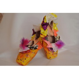 """chaussons de danse pointes décorés main SÈV """"BRAZIL"""" sur Capezio Cambré"""