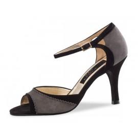 Chaussures de danse de salon WERNER KERN ALESSIA FEMME daim gris et cuir noir