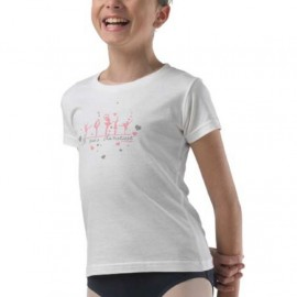 T-SHIRT TEMPS DANSE LIO JR DANSEUSE BLANC