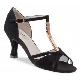Chaussures de danse de salon WERNER KERN FEMME daim noir et métal cuivré