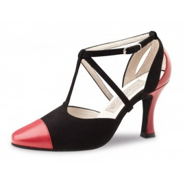 Chaussures de danse de salon WERNER KERN OLGA FEMME cuir rouge daim noir