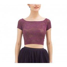 Top court REPETTO dentelle rosace violet