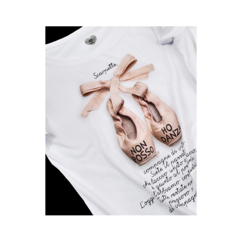 t-shirt NON POSSO, HO DANZA 0039 SCARPETTA